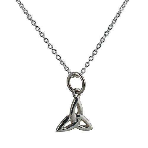 Silver 11x11mm Celtic Trinity knot pendant with Rolo chain
