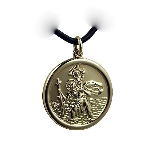 14ct Yellow gold on Silver 26mm round solid St Christopher Pendant with a Leather Pendant Cord 20 inches
