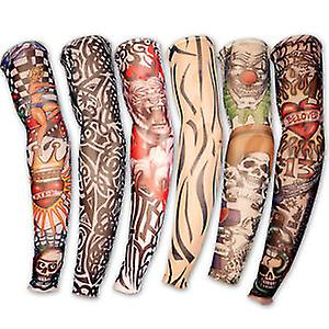 6 färger Nylon Stretch Kostym Fake Tattoo Sleeve Arm - Fancy Dress Stocking