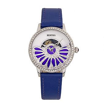 Bertha Adaline Mother-Of-Pearl Leather-Band Watch - Purple