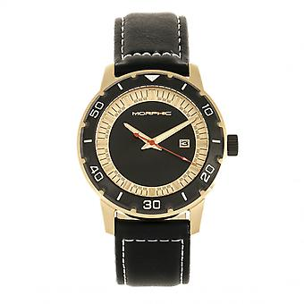 Morphic M71 Series Leather-Band Watch w/Date - Gold/Black