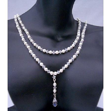 Swarovski Briolette Pendant Double Strand Pearls & Crystals Necklace