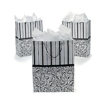 12 Large Black & White Design Gift Bags - Wedding Supplies | Gift Wrap Supplies