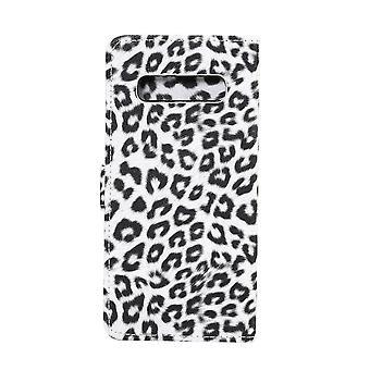Samsung Galaxy S10 Plånboksfodral Fodral Leopard - Vit