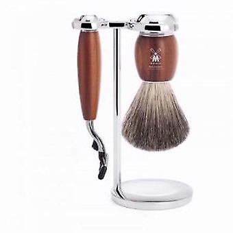 Muhle VIVO Plum Wood 3 Piece Mach3 Shaving Set