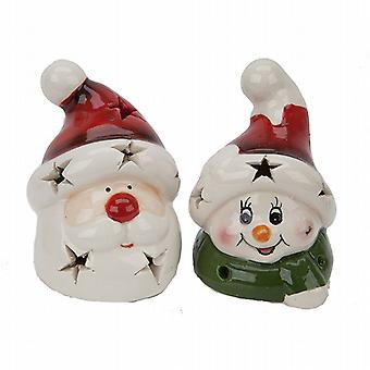 Ceramic Christmas Character Head Decoration With Led Light 10cm Pack of 20 (523004)