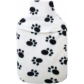 Cosy Fleece 2L Hot Water Bottle & Cover: Cream Paw Print