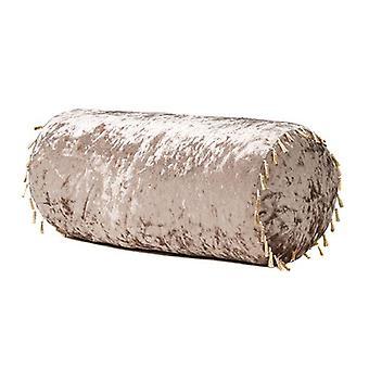 Luxurious Crushed Velvet Bolster Pillow - Truffle