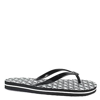 MICHAEL by Michael Kors Mk Black And Optic White Logo Flip Flop