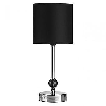 Premier hem bordslampa, kromat tyg, svart