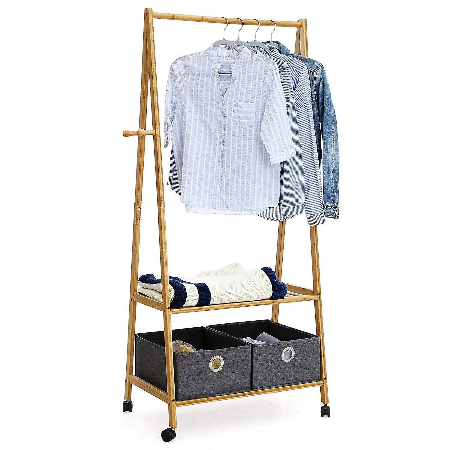 Bamboo Clothes rack with wheels