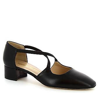 Leonardo Shoes Women's handmade low heeled pumps shoes in black calf leather