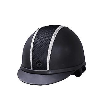 Charles Owen Ayr8 Leather Look Riding Hat - Navy/silver Sparkly Trim