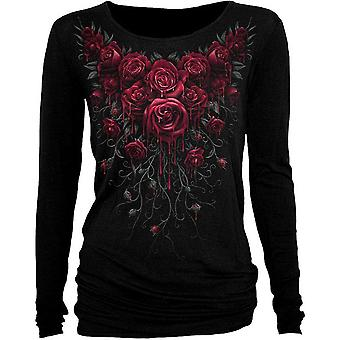 Spiral - blood roses - womens longsleeve viscose top