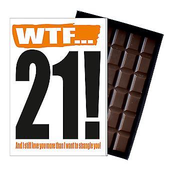 Funny 21st födelsedagspresent Rude stygg närvarande för honom eller henne 85G choklad kort IYF111
