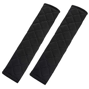 TRIXES Seatbelt Strap Cover 2 Car Seat Belt Comfort Pads with  Black Quilted Travel Cushion Seat Belt Covers