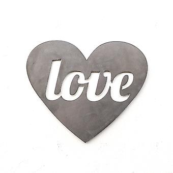 Love - heart - metal cut sign 9x7in