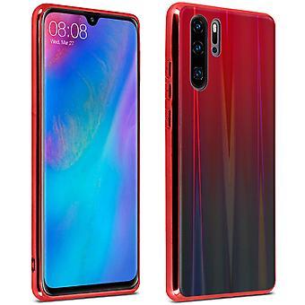 Huawei P30 Pro Funda Brillante Diseño Holográfico-Aurora Colección - Rojo