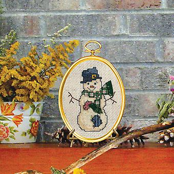 Top Hat Snowman Mini Counted Cross Stitch Kit-3
