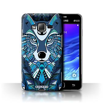 STUFF4 Case/Cover for Samsung Z1/Z130/Wolf-Blue/Aztec Animal
