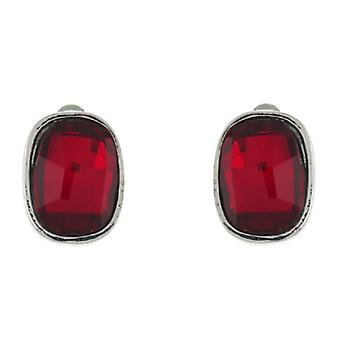 Clip On Earrings Store Siam Red Rectangular Stone Clip on Earrings