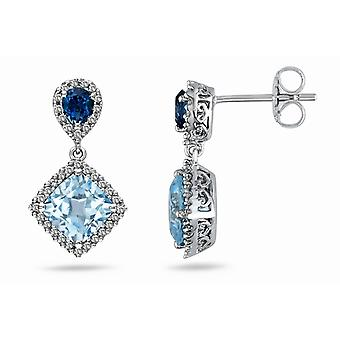 Affici Sterling Silver Drop Earrings 18ct White Gold Plated with Blue Topaz & Sapphire CZ Gems