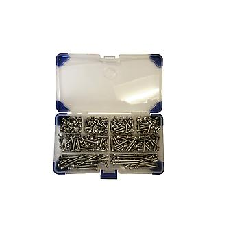 365 Piece No 6 (3.5mm) Zinc Plated Pozi Pan Head Self Tapping Screws Assorted Lengths