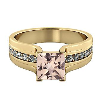 3.20 CTW natural peach/pink VS Morganite Ring with Diamonds 14k Yellow Gold Bridge Vintage Promise