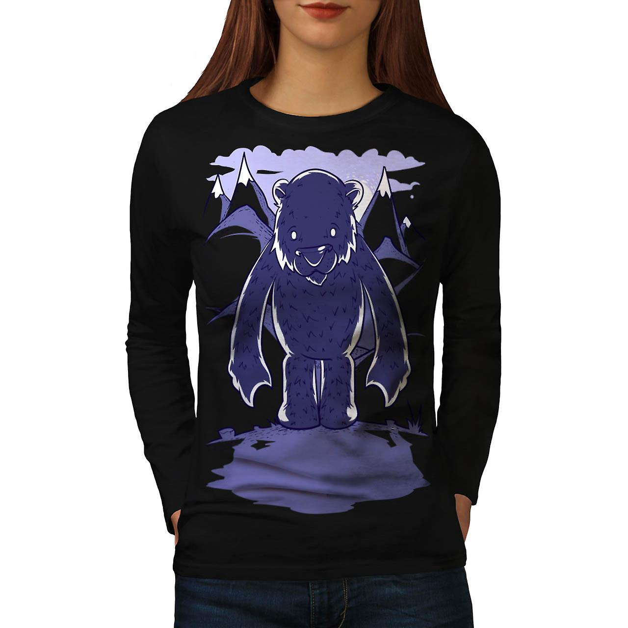 Polar Bear Danger Game Camp Site Women Black Long Sleeve T-shirt | Wellcoda