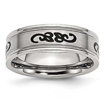 ステンレスつや消し黒ゴム スクロール デザイン 7 mm 彫刻用バンド リング - 指輪のサイズ: 7 に 13