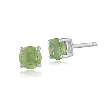 Gemondo Peridot Round Stud Earrings In 9ct White Gold 3.50mm Claw Set