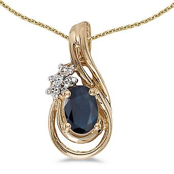 10k Yellow Gold Oval Sapphire And Diamond Teardrop Pendant with 18