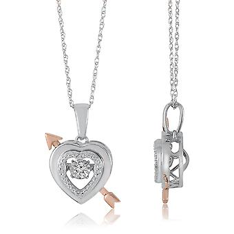 10K White Gold Heart And Arrow Dancing Diamond Pendant (0.05 Cttw, G-H Color, I2-I3 Clarity)