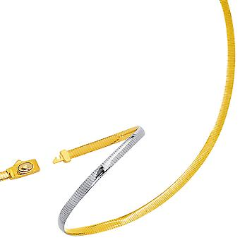 Two Tone Reversible Omega Chain Necklace In 14k Yellow Gold And Sterling Silver, 5mm
