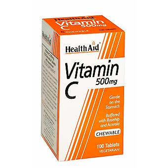 Health Aid Vitamin C 500mg - Chewable (Orange Flavour), 100 Tablets