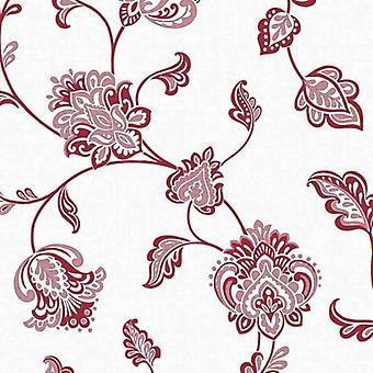 Floral Wallpaper Flowers Glamour Glitter Luxury Textured Vinyl White Red