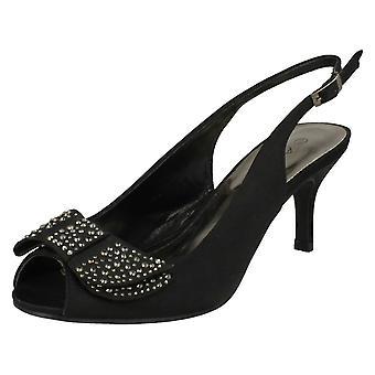 Las señoras Anne Michelle mediados talón Peep Toe arco de Diamante corte Vamp zapatos