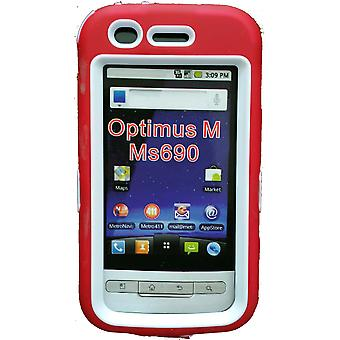 Dual Snap On Hard Case for LG Optimus M MS690 (Red/White)