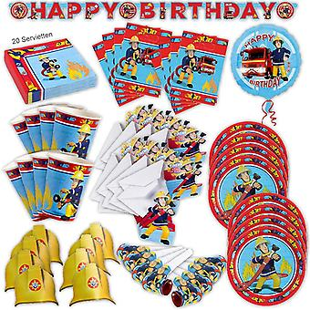 Fireman Sam party set XL 78-teilig for 8 guests fireman Sam decoration party package