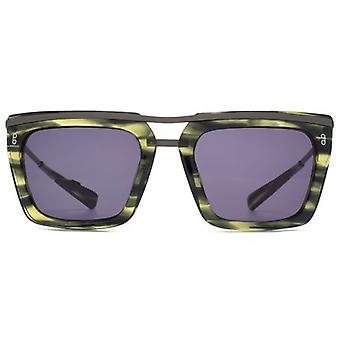 Hook LDN Chambers Metal Brow Square Premium Acetate Sunglasses In Green