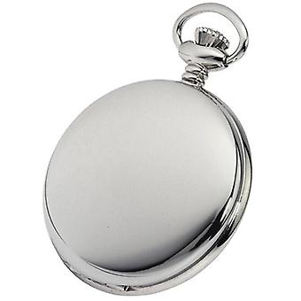 Woodford Chrome Plated Double Full Hunter Skeleton Mechanical Pocket Watch - Silver