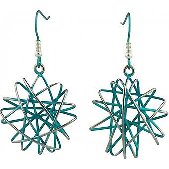 Ti2 Titanium Large Round Cage Chaos Hook Earrings - Kingfisher Blue