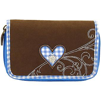 Purse Friedrich Velour women's wallet purse Brown Plaid cotton blue