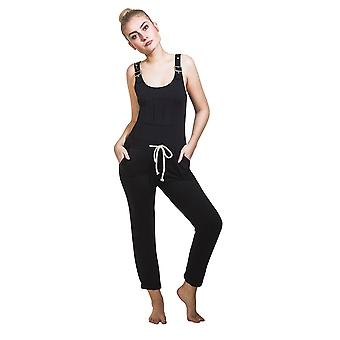 Ladies Jumpsuit - Black All-in-one Overall Playsuit One size UK 8-12
