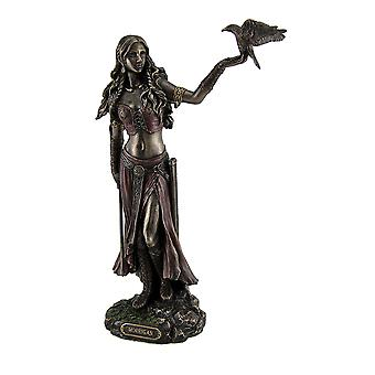 Morrigan the Celtic Goddess of Battle w/Crow & Sword Bronze Finish Statue