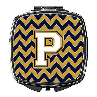 Letter P Chevron Navy Blue and Gold Compact Mirror