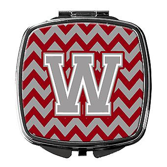 Letter W Chevron Crimson and Grey   Compact Mirror