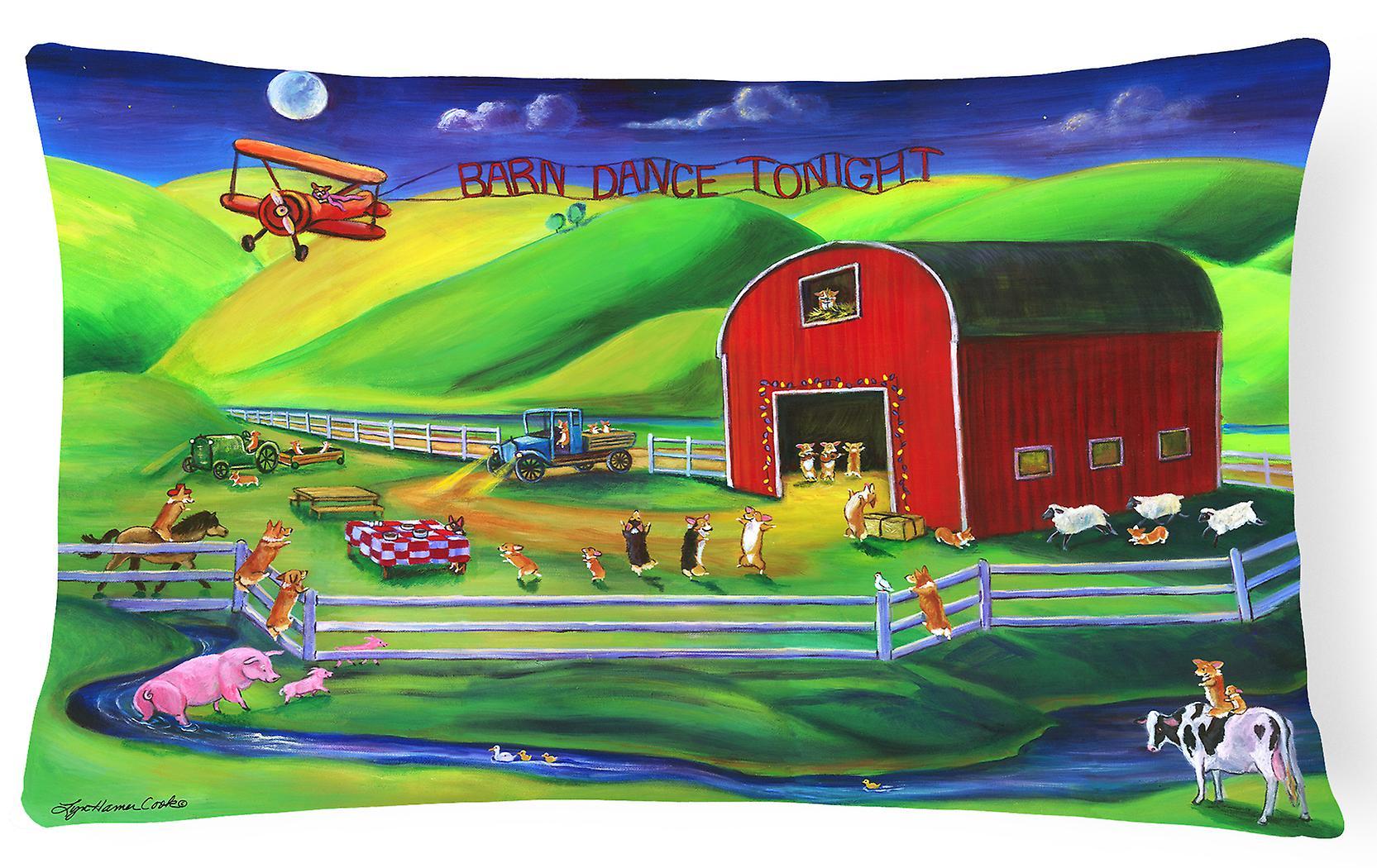 Des Carolines Dance Décoratif 7404pw1216 Tissu Corgi Barn Trésors Oreiller HID2W9YE