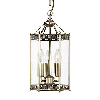 Searchlight 2273AB Antique Brass 3 Light Hexagonal Lantern Pendant Light  With Clear Glass