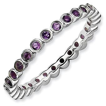 Sterling Silver Bezel Polished Patterned Rhodium-plated Stackable Expressions Amethyst Ring - Ring Size: 5 to 10